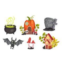 Sinister halloween holiday symbols with cauldron vector
