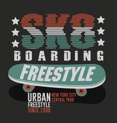 Skateboarding new york t-shirt graphic design vector