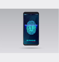 smartphone with finger scan hud interface vector image
