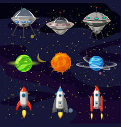 Space cartoon icons set planets rockets ufo vector