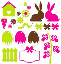 Spring easter elements isolated on white vector image