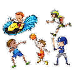 Sticker set with people doing sport vector image