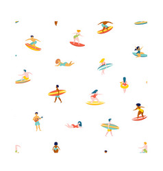 surfing men women surf boards catching waves sea vector image