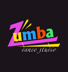 Text zumba card on black background card on black vector