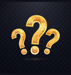 tree golden questions sign on dark transparent vector image