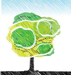 tree pencil color sketch vector image vector image
