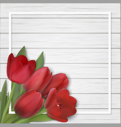 tulips bouquet on wooden background vector image