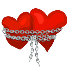 Two hearts linked by a chain vector