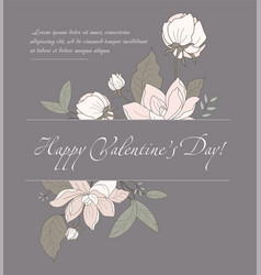 valentines day card with pink flowers vector image