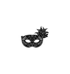venecian mask black on white background vector image