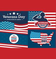 Veterans day banner set flat style vector