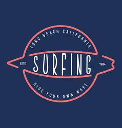 vintage surfing emblem for web design surfer logo vector image