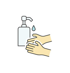 Washing hands with liquid soap color line icon vector