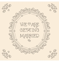 We are getting married card monogram beige vector