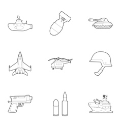 Weaponry icons set outline style vector