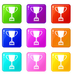 winner cup icons 9 set vector image
