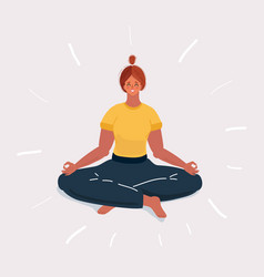 woman in yoga position on white background vector image