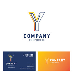 y company logo design with visiting card vector image