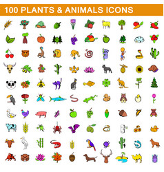 100 plants and animals icons set cartoon style vector image vector image
