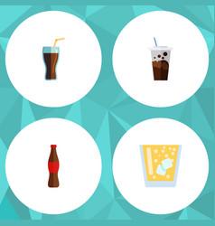 flat icon beverage set of lemonade juice fizzy vector image