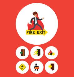Flat icon door set of open door exit fire exit vector