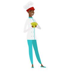 Happy african-american chef cook holding money vector