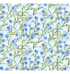 seamless pattern with hand drawn flax vector image