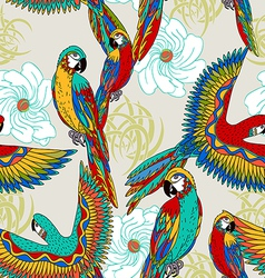 Vintage colorful background with parrots vector image vector image
