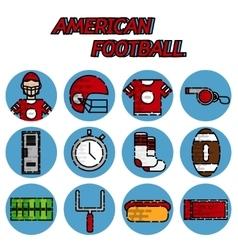 American football flat icon set vector image vector image