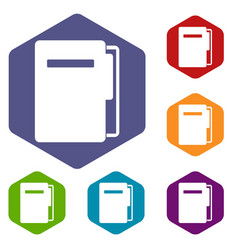 file folder icons set hexagon vector image