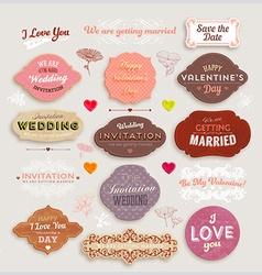 Romantic label set vector