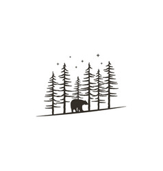 vintage hand drawn forest concept with bear black vector image