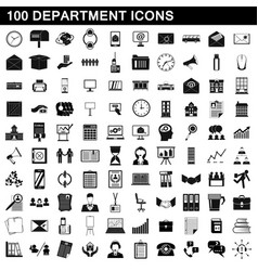 100 department icons set simple style vector image vector image