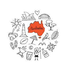 Australia icons set sketch for your design vector