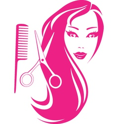 beautiful girl with scissors and comb vector image vector image