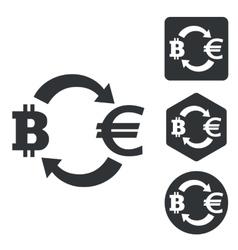 Bitcoin-euro exchange icon set monochrome vector image vector image