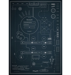 blueprint infographics drawing a schematic abstrac vector image vector image