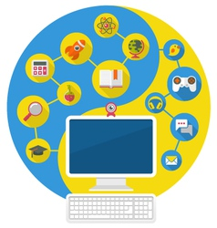 Computer for Education and Leisure vector image vector image