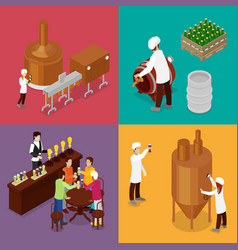 Isometric beer production brewery indoors vector