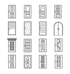 linear door icons thin outline line doors of vector image vector image