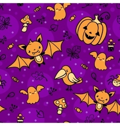 Seamless pattern with halloween decorations vector image