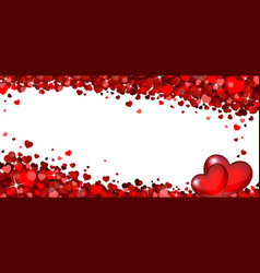 banner with red hearts vector image