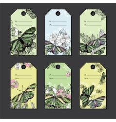 set hand Floral gift tags with butterfly Hand vector image
