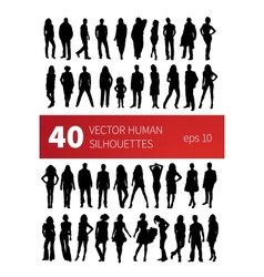silhouettes of people in various poses isolated on vector image