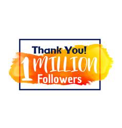 1 million followers success thank you for social vector
