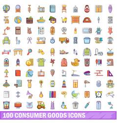 100 consumer goods icons set cartoon style vector