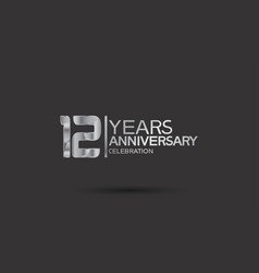 12 years anniversary logotype with silver color vector