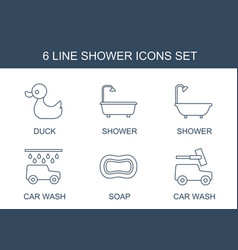 6 shower icons vector