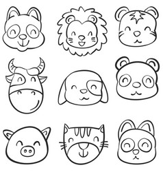 animal head cute funny doodles vector image