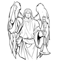 Archangel gabriel line art vector
